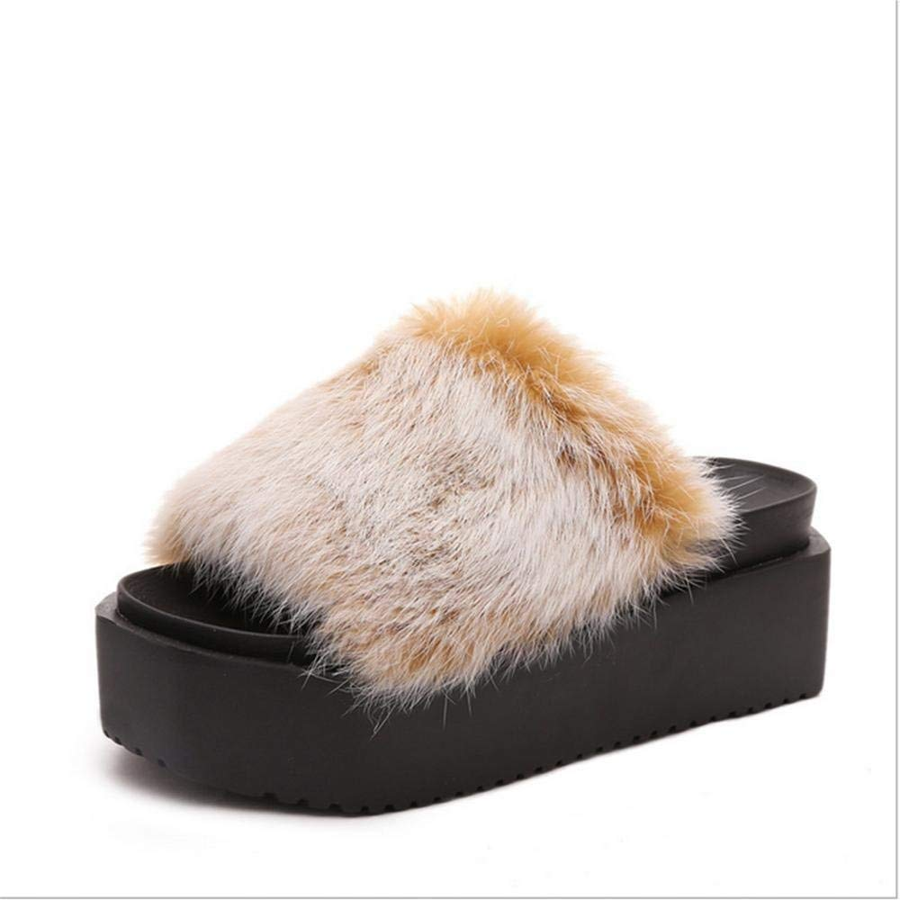 Color : Red Wine, Size : 38 Oudan Leisure Bunny Cake Heavy Floor Mao Maonv Slippers Slippers Home Shoes Non-Slip Warm in Autumn and Winter 35 36 37 38 39 40 41 42 43 44 45 46 47 2 3 4 5 6 7 8 9 10