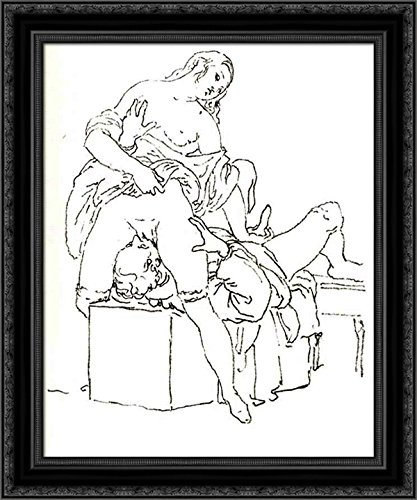 Cunnilingus, or oral sex performed on a woman 24x20 Black Ornate Wood Framed Canvas Art by Francesco Hayez by ArtDirect