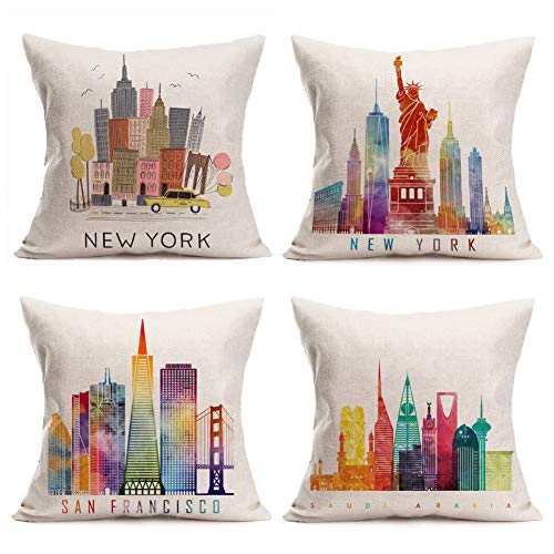 Asminifor Pillow Covers 4 Pack Vintage Colorful Drawn Urban Scenery with New York Famous Buildings Style Decorative Square Throw Pillow Case 18 X 18 Inches (New York Set) (York Pillows Throw New)