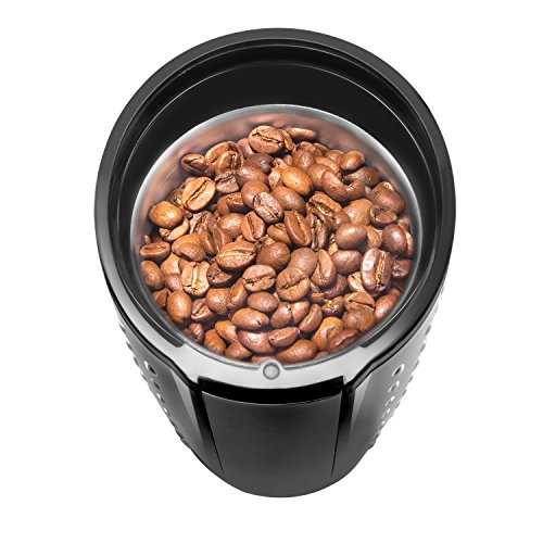 Chefman Electric One-Touch Coffee Grinder for Fresh Coffee Grounds, Dried Nuts, Herbs, and Spices, Durable Stainless Steel Blades, 100 gr./3.5 oz. Bean Capacity, for Up to 12 Cups of Coffee, Black by Chefman (Image #2)