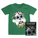 LiteWear Boys Kids Children Zombie Skull Santa Claus Graphic Light Up Holiday Christmas Tee Shirt Green 8