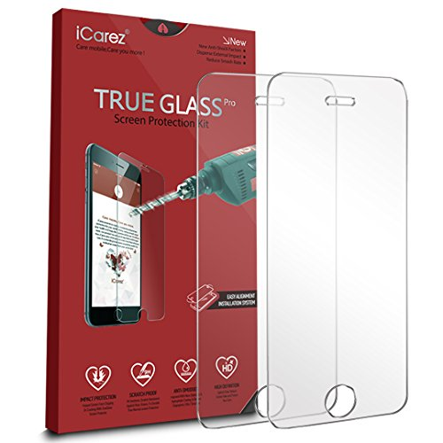 iCarez [Tempered Glass] Screen Protector for iPhone SE / 5S Easy Install [ 2-Pack 0.33MM 9H 2.5D] with Lifetime Replacement Warranty - Retail Packaging