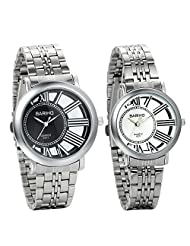 JewelryWe Set of 2 Unique Stainless Steel Romantic Pair His and Hers Wrist Watches for Men Women
