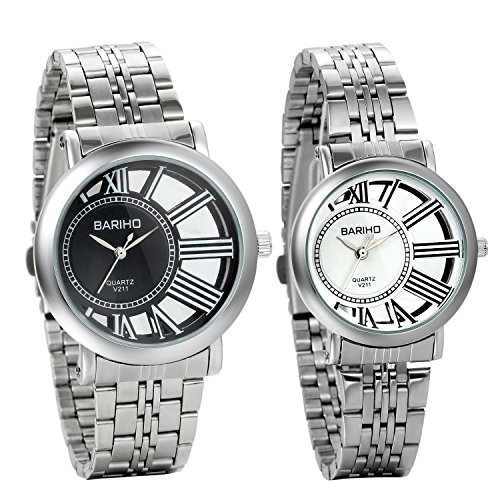 f 2 Unique His and Hers Couple Lovers Wrist Watches, Stainless Steel Bracelet ()