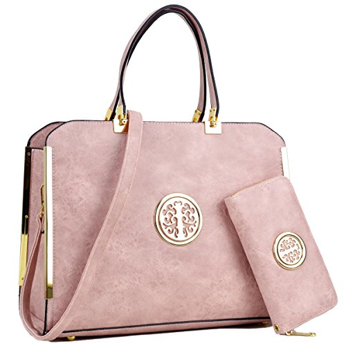 "Women Large Designer Handbags Purses Vegan Leather Briefcases Top Handle Satchel Work Bags for 13"" (Pink Leather Briefcase)"