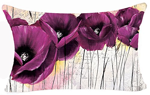 Enchanting Beautiful Retro Purple Poppy Flowers Gift Anniversary Day Present Cotton Linen Home Office Decorative Throw Waist Lumbar Pillow Case Cushion Cover Rectangle 12 X 20 Inches (Purple Lumbar Pillow)