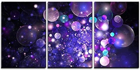 Amazon Com Wall26 3 Piece Canvas Wall Art Abstract Glowing Purple And Blue Bubbles On Black Background Fractal Art Modern Home Art Stretched And Framed Ready To Hang 24 X36 X3