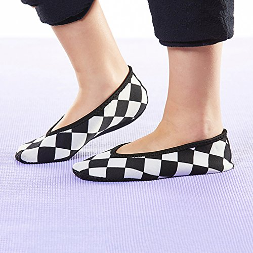 Travel Socks White Yoga Large Black Slippers Slipper Womens amp; Shoes Exercise Ballet Socks Flexible Flats Shoes NuFoot Checkers Best Slippers amp; Shoes Flats Foldable Shoes Dance Indoor House and HAPqwUF
