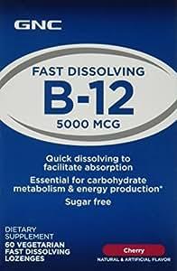 GNC B-12 5000 ZipMelt, Vegetarian Tablets, Cherry, 60 ea