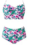 LA PLAGE Women's Swimsuit Floral High Waist Push Up Padded Bra Retro Vintage Cute Beach Swimwear size XXL US pink