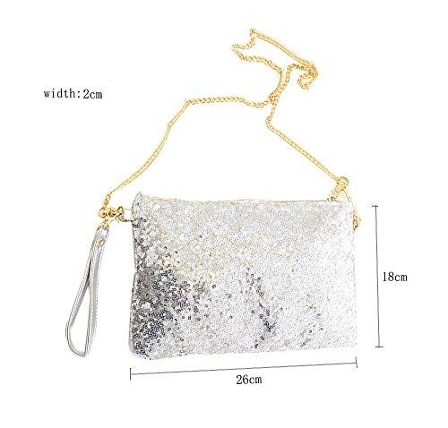 Fulla2116 Vintage Paillett Party Abend Tasche Kupplungs Handtasche, Silber