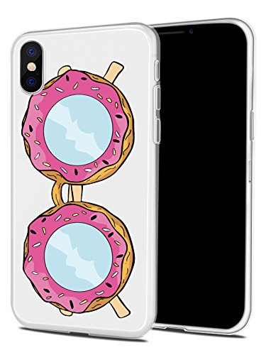 iPhone X Case, JOYLAND Donuts Sunglasses Style Slim Fit Soft Shell Rubber TPU Full Protective Anti-Scratch Resistant Cover Case for Apple iPhone - Round 2017 Sunglasses Trend