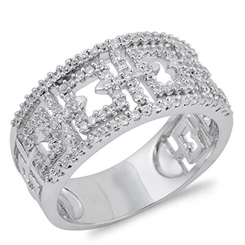 White CZ Micro Pave Filigree Cross Ring New .925 Sterling Silver Band Size ()
