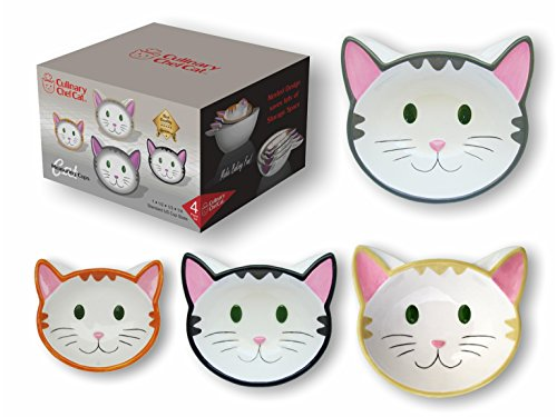 Culinary Chef Cat Cat Measuring Cups/Ceramic Baking Bowls Set Nested Cute Happy Kitten Faces Makes Perfect Novelty Gift for Cat and Food Lovers