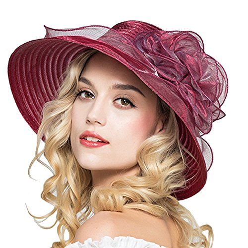 Red Hats Wide Brim Hat - HH HOFNEN Kentucky Derby Sun Hats for Women Wide Brim Beach UPF Protection Cap (Purplish Red)