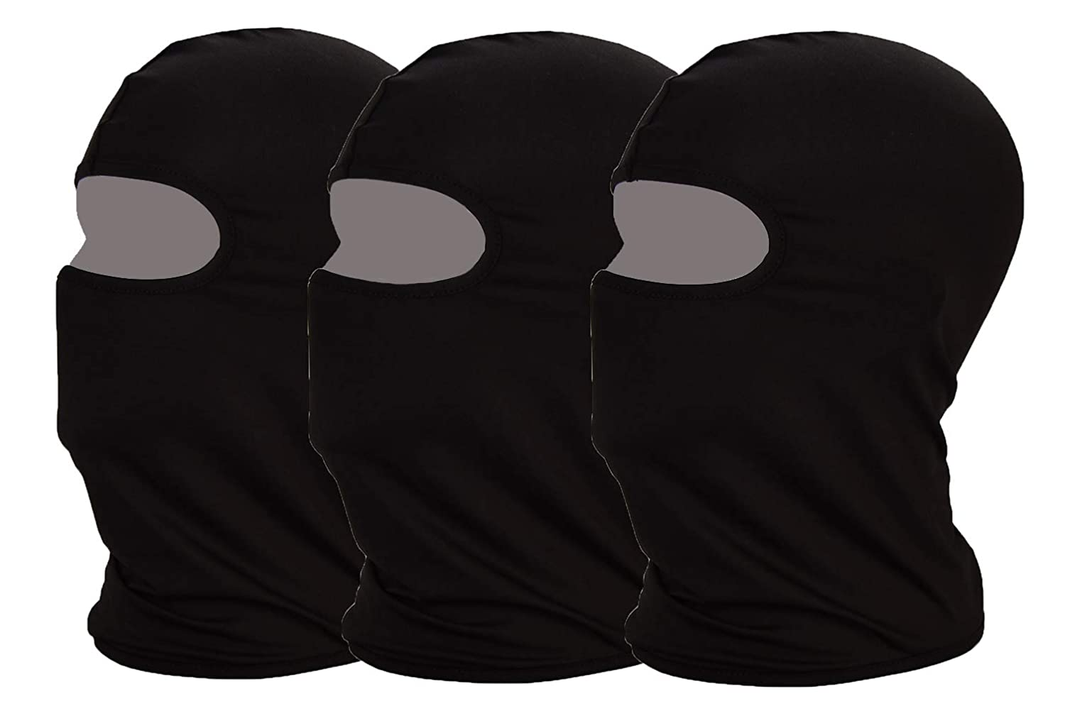 MAYOUTH UV protection Balaclava Cycling Face Mask Light Thin Lycra Fabric Windproof Breathable Sports Outdoor Full Face Mask 3-pack (Black 3-pack)