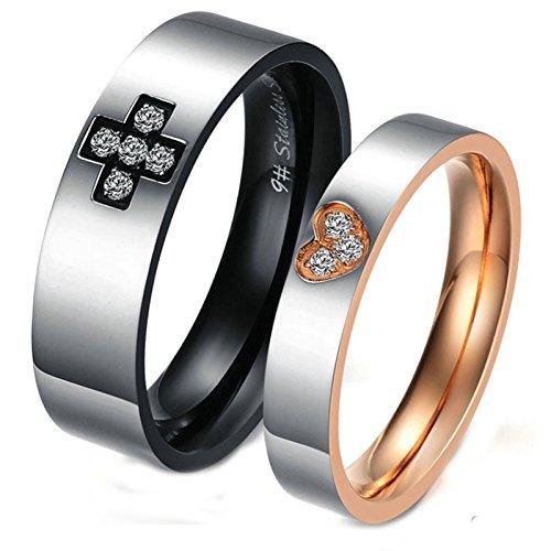 Daesar Wedding Bands for Women and Men Rings Rose Gold Black Couple Cross Heart Rings Women 8 & Men 10