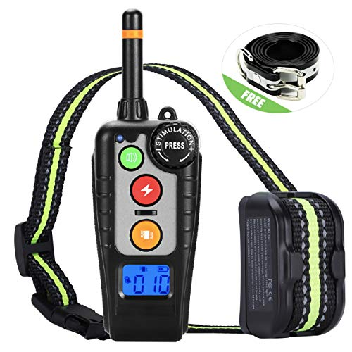 (Dog Training Collar,Rechargeable Shock Collar and E-Collars up to 2000FT Remote,3 Color 3 Training Modes Beep/Vibration/Shock,Rotary Dial adjust Intensity 100% Waterproof Training Collar for all Dogs.)