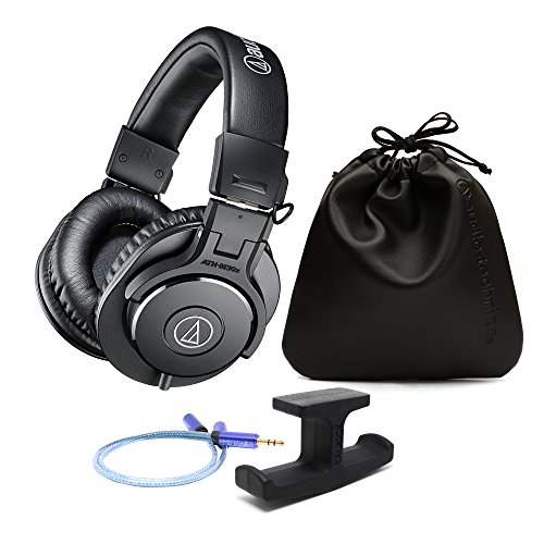Audio-Technica ATH-M30x Professional Monitor Headphones -INCLUDES- Blucoil Headphone-and-Microphone Splitter AND Blucoil Stick-On Under Desk Dual Headphone Stand Mount (Pole Single Mount Field)
