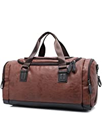 Micom Mens Vintage Pu Leather Large Duffel Bags Travel Luggage Totes (Brown)
