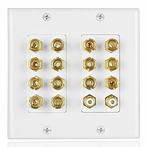 TNP Home Theater Speaker Wall Plate Outlet - 7.2 7.1 Surround Sound Audio Distribution Panel, Gold Plated Copper Banana Plug Binding Post Coupler, 2 RCA LFE Input Jack for Subwoofer (Bar Speakers For Tv Boss)