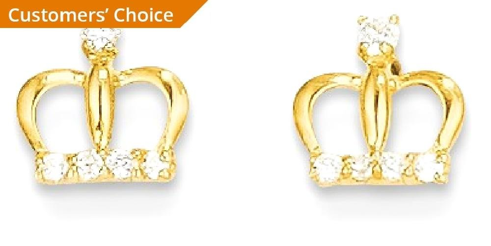 ICE CARATS 14k Yellow Gold Cubic Zirconia Cz Crown Post Stud Earrings Fine Jewelry Gift Set For Women Heart by ICE CARATS (Image #2)