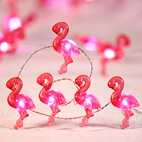 Impress Life Pink Flamingo Party String Lights Decoration, 10 ft 40 LED Tropical Themed Fairy Light Silver Wire Remote Summer Birthday Bedroom Beach Wedding DIY Wreathe Christmas Tree Ornamental ()