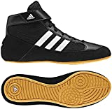 Adidas Youth Boy's Kids HVC2 Wrestling Mat Shoe Ankle Strap (Black/White, 1.5)