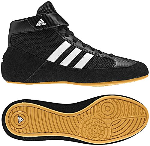 Adidas Men's Boy's HVC2 Wrestling Mat Shoe Ankle Strap (Black/White, 9.5) (Best Shoes For Boxing Workout)