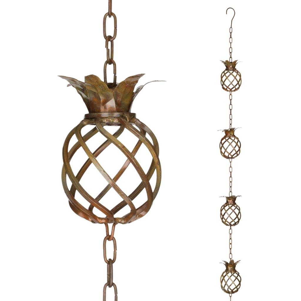 Regal Rain Chain Copper Finish Pineapple 8.5 Foot Decorative Downspout Replacement