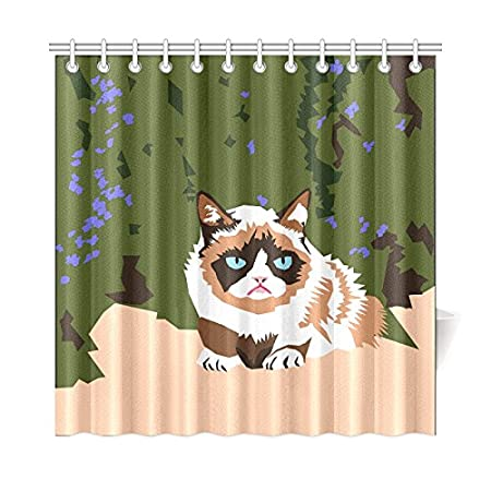 Home Decor Bath Curtain Clipart Issue Feline Grumpy Cat Internet Celebrity Polyester Fabric Waterproof Shower