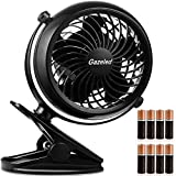 Battery Operated Fan, Small Clip on Fan, Stroller Fan for Baby, Desk Fan with USB Cable, Portable Fans for Baby Stroller, Car, Gym, Office, Outdoor, Traveling, Camping-8 AA Batteries Included