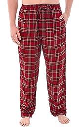 Del Rossa Men\'s Flannel Pajama Pants, Long Cotton Pj Bottoms, Large Thin Red Plaid (A0705P72LG)