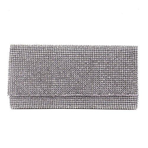Borsa clutch, Solange argento, in raso e strass
