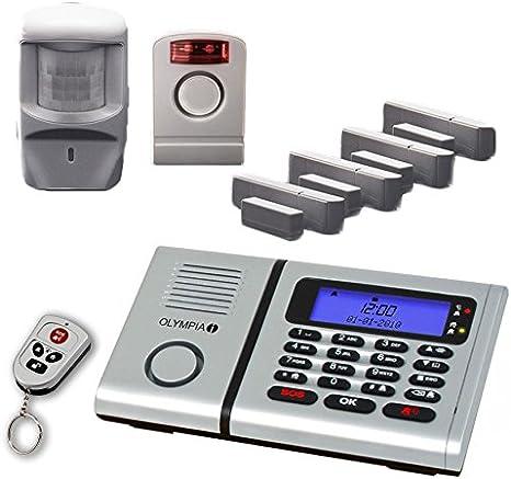 Olympia 6061 Super Dispositif de surveillance sans fil avec 1 sirène extérieure, 1 détecteur de mouvements, des contacts pour porte/fenêtre et 1 télécommande