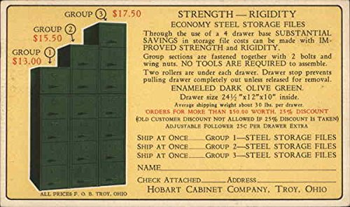 Vintage Advertising Postcard: Economy Steel Storage Files - Hobart Cabinet Company, Troy, OH ()