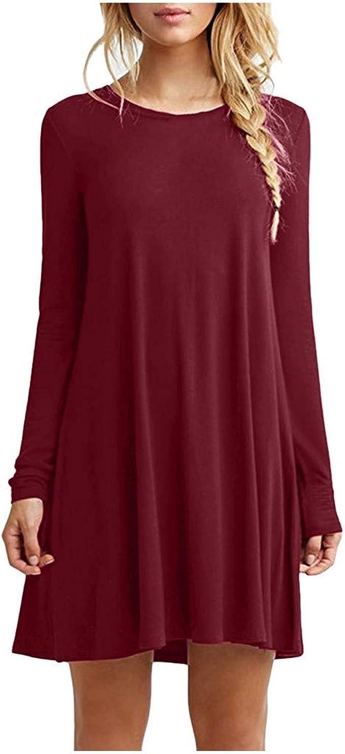 BOLANQ Lässiges Langarm-Kleid mit rundem Hals und festem Tank für