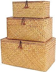 FEILANDUO 3 sztuki pudełko do przechowywania z pokrywką, glony tkany, kosmetyczny kosz do przechowywania na biurko, do salonu, organizacji, S, M, L