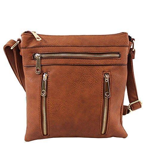 Haute für Diva S NEU Reißverschluss-Detail Kunstleder Damen klein Umhängetasche Handtasche - Rot, Small Braun