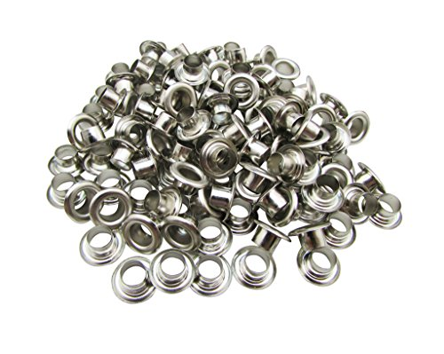 Amanaote 6mm Internal Hole Diameter Silvery Eyelets Grommets with Washer Self Backing Pack of 150 Sets ()