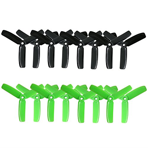 RAYCORP 4040 3-Blades 4x4x3 Propellers. 16 Pieces (8CW, 8CCW) Black & Green 4-inch Tri Blades Mini Quadcopter & Multirotor Props + Battery Strap by RAYCorp