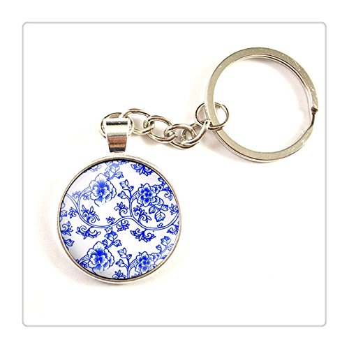 Willow Porcelain (Blue and white porcelain art keychain , blue china keyring , blue willow keychain, blue willow key ring)