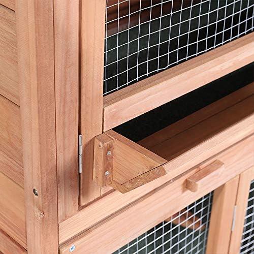 XEMQENER Large Wooden Pet Rabbit Guinea Pig Hutch House Home Double Decker