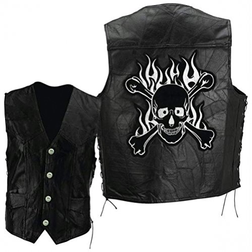 Diamond Plate Rock Design Genuine Buffalo Leather Motorcycle Vest with Skull and Crossbones Embroidered Patch Size Large Diamond Plate Mens Vest