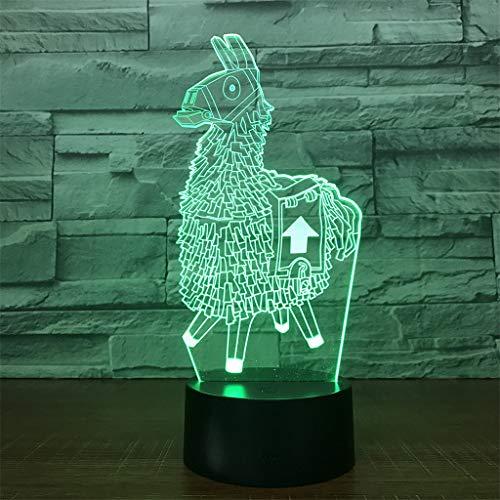 HGXC Luz Nocturna Fantasma 3D, lámpara de Mesa de Alpaca LED lámpara de Mesa Cambio de Color de Color Interruptor táctil...