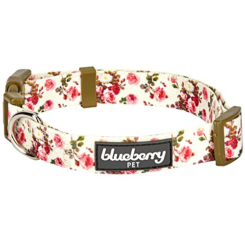 Blueberry Pet 9 Patterns Spring Scent Inspired Pink Rose Print Ivory Dog Collar, Medium, Neck 14.5