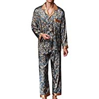 Musen Men Sleepwear Silk Pajama Set Pajama Shirt and Pant Satin Loungewear 2aaf60892