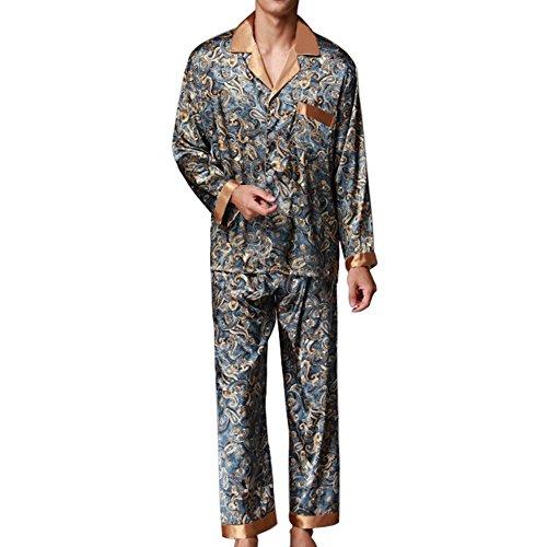 Musen Men Sleepwear Silk Pajama Set Pajama Shirt and Pant Satin Loungewear