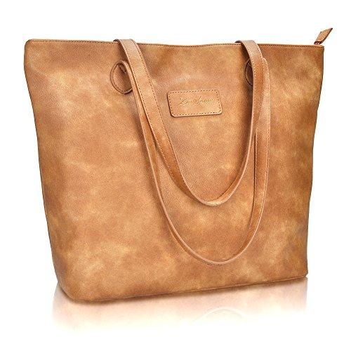 ZMSnow Women Large Tote Purse Handbags PU Leather Shoulder Shopping Bag(1014,Brown)