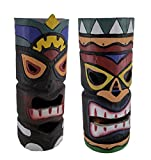 Wood Landscape Path Lights Colorful Wooden Tiki Totem 2 Piece Statue Solar Light Set 14 Inch 5.6 X 13.75 X 5.6 Inches Multicolored